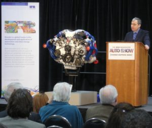 Kent Niederhofer, President of Ricardo, Inc., unveils highly fuel-efficient, low-emissions, flex-fuel engine at DC Auto Show