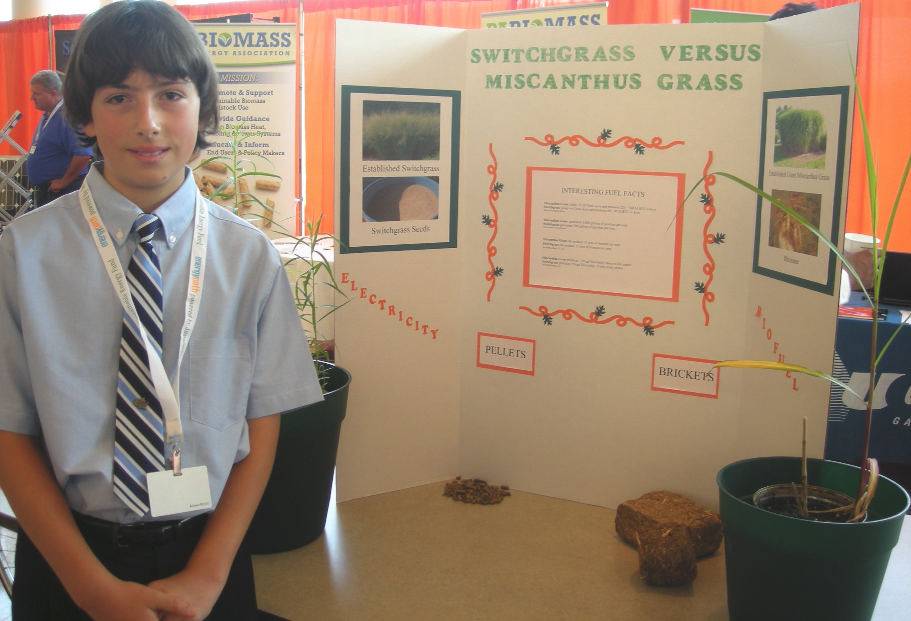 advanced biofuels usa student biofuels projects at energypath 7th grader josh danna his switchgrass vs miscanthus project