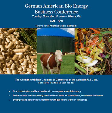 German American Bio Energy Business Conference   —   November 1, 2016   —   Atlanta, GA