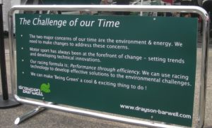 The Drayson-Barwell team displayed their philosophy up front.