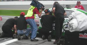 Leilani gets attention from Fox TV; GREEN and SAVE car gets attention of Mark Gibson Racing crew.