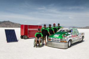 Greenspeed Team and Truck at 2016 Speed Week, Bonneville Salt Flats, Utah, USA
