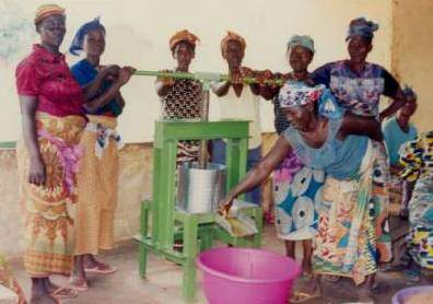 Women in Northern Ghana extracting oil from Jatropha seeds. Photo Sab