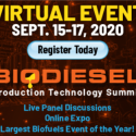 NEW DATE, NEW FORMAT Biodiesel Production Technology Summit   —   POSTPONED to September 15-17, 2020   —  ONLINE