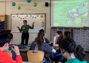 Talking about renewable fuels at Independence, Ohio, Middle School