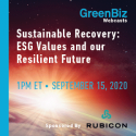 Sustainable Recovery: ESG Values and our Resilient Future   —   September 15, 2020   —   ONLINE